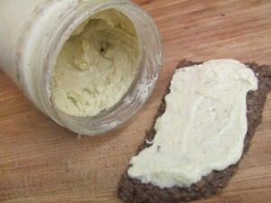 creamy raw salad dressing on raw sprouted wheat berry bread