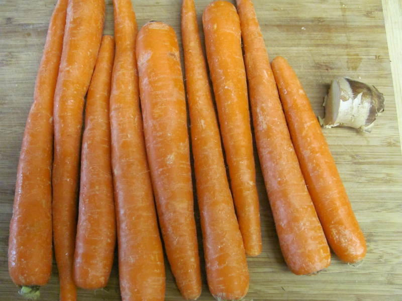 carrots and ginger, ready to be juiced