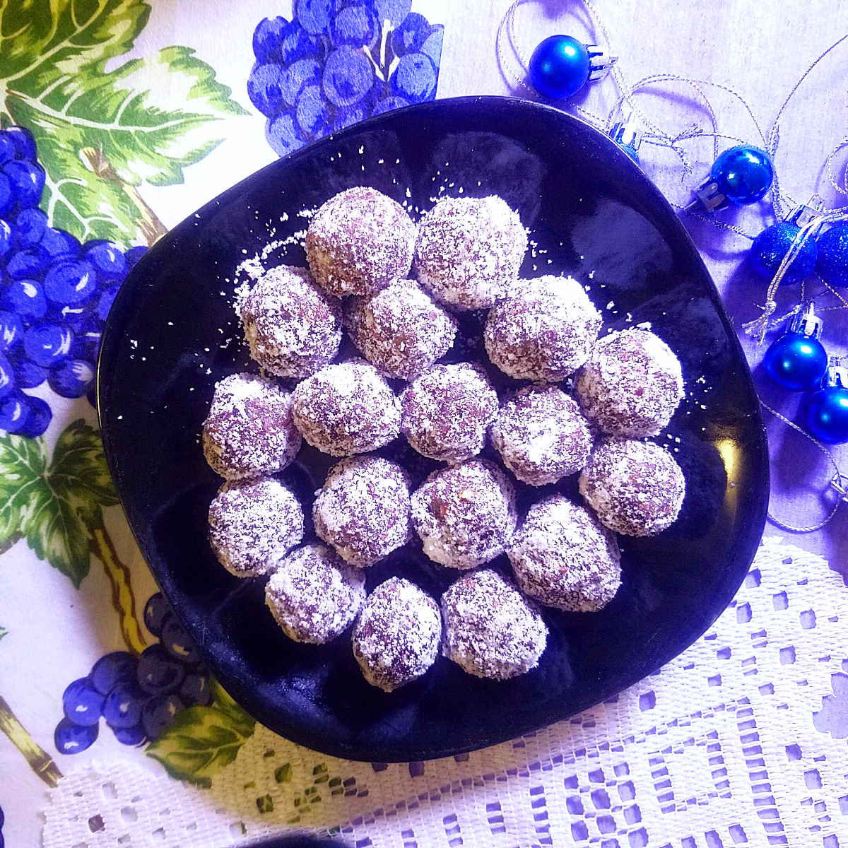 cherry cacao coconut date balls