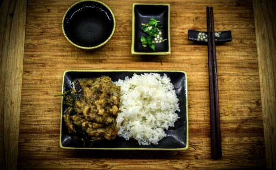 low fat thai basil eggplant with miso