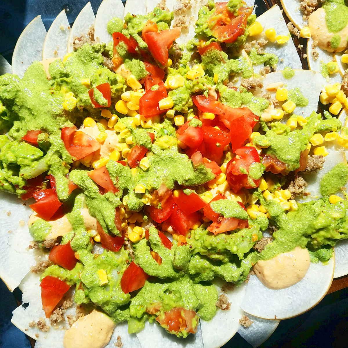 raw vegan jicama nachos plate