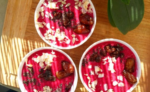 3 pitaya smoothie bowls with toppings