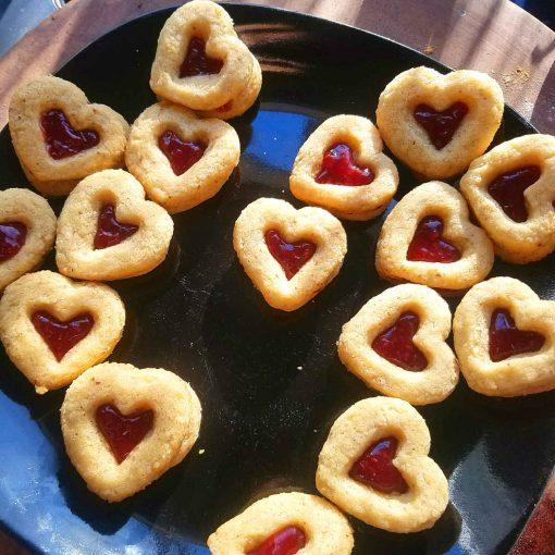 raspbery jam gluten free vegan heart shaped cookies