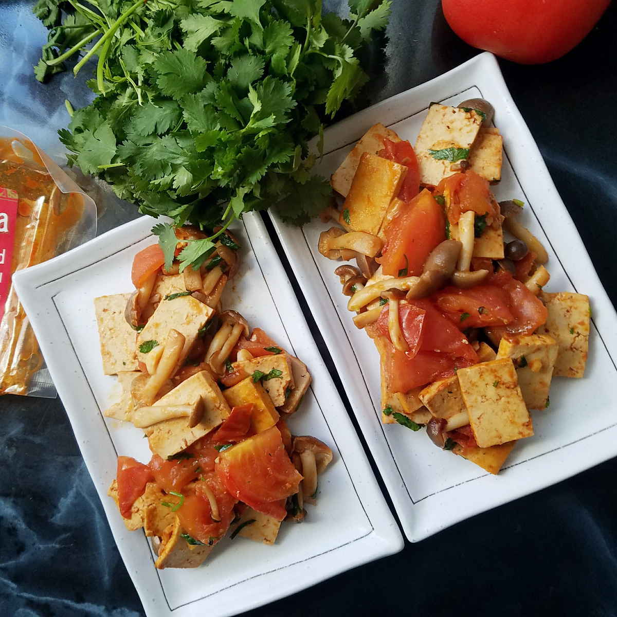 gluten-free vegan stir-fry with sriracha tofu and mushrooms