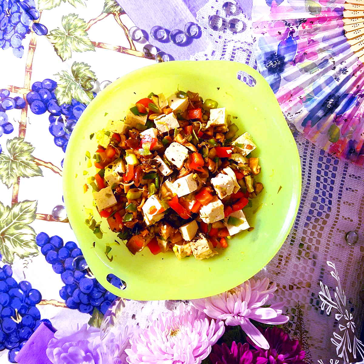 tofu salad with citrus and mint (soy-free option)